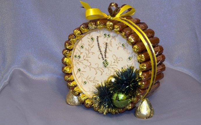 Новогодние часы из конфет своими руками — Добро пожаловать в Россию